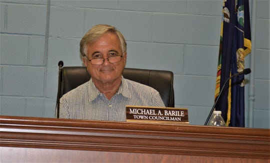 Carmel Town Board member Mike Barile is shown during a meeting on Oct. 2, 2019.