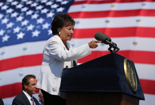 Congresswoman Nita Lowey speaks during opening ceremonies of the Gov. Mario M. Cuomo Bridge Aug. 24, 2017.