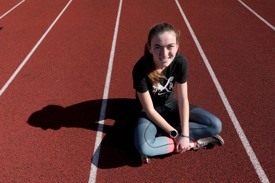 Suffern High School senior Mary Hennelly has competed against Katelyn Tuohy and Haleigh Morales of North Rockland in track and cross country since middle school. Hennelly, photographed Oct. 9, 2019, says that competing against Tuohy and Morales and helped to create a healthy rivalry between runners from both schools. She also said that competing against them has made her a better runner. She adds that she has become friends with both runners.