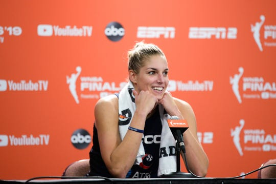 Elena Delle Donne #20 of the Washington Mystics speaks at a post-game news conference following Game 3 of the WNBA Finals at Mohegan Sun Arena on October 6, 2019 in Uncasville, Connecticut.