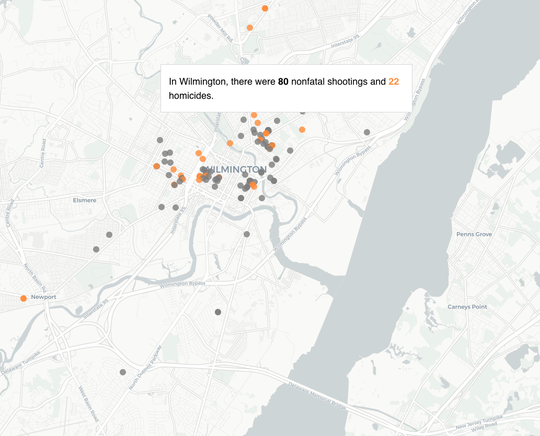 A screenshot of the 'A Year of Gun Violence' project.