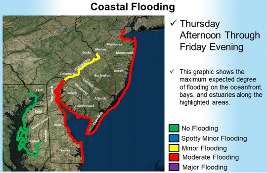 Moderate coastal flooding is expected along the Delaware coast Thursday through Friday.