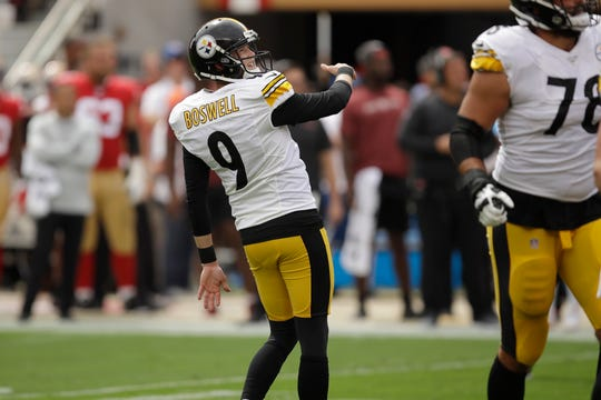 Pittsburgh Steelers kicker Chris Boswell watches his field goal during the first half of an NFL football game against the San Francisco 49ers.