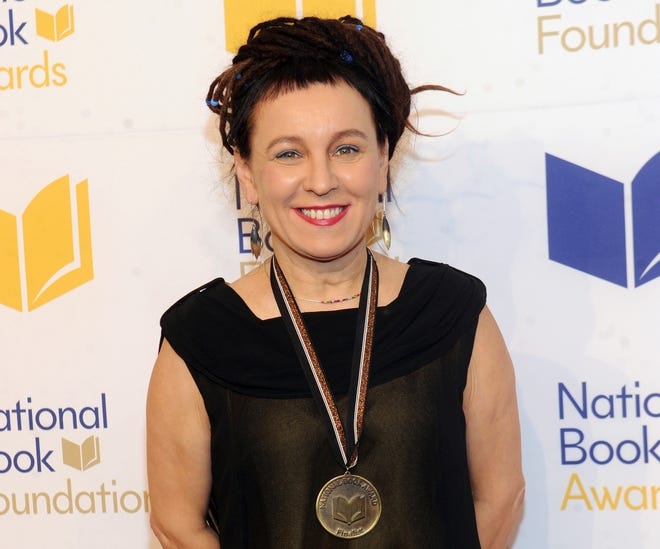 Olga Tokarczuk is named recipient of the 2018 Nobel Prize in Literature, Thursday Oct. 10, 2019. This Nov. 14, 2018 file photo shows Tokarczuk at the 69th National Book Awards Ceremony and Benefit Dinner in New York.