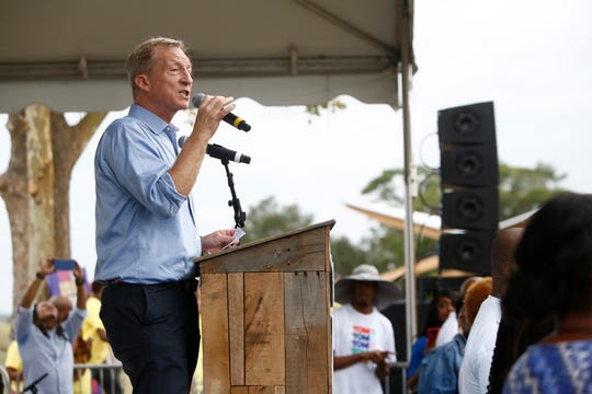 Democratic presidential candidate, Tom Steyer speaks to attendees during the Blue Jamboree on October 5, 2019 in North Charleston, South Carolina.