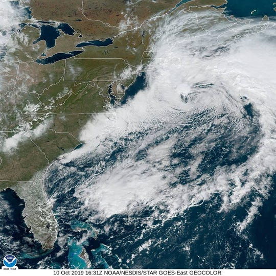 A satellite image shows a nor'easter storm swirling to the east of New England on Oct. 10, 2019.