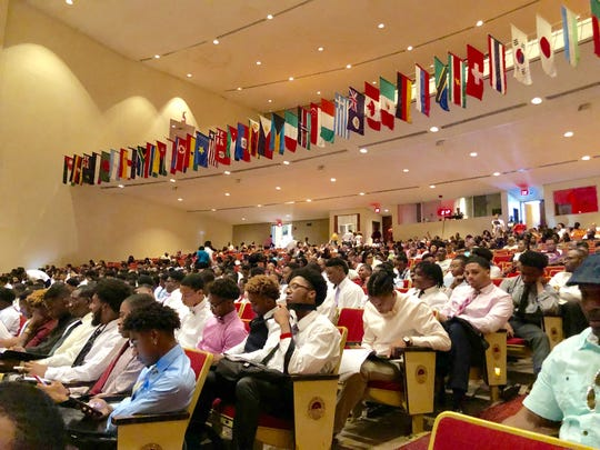 Morehouse students attend a session on scholarships at Martin Luther King Jr. International Chapel during new student orientation.