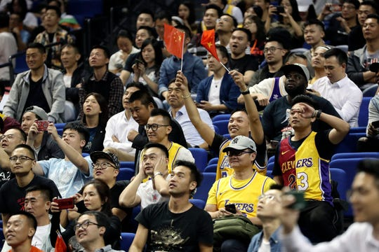 At the Brooklyn Nets and Los Angeles Lakers game in Shanghai on Oct. 10, 2019.