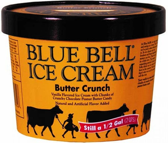 A container of Blue Bell Butter Crunch ice cream.
