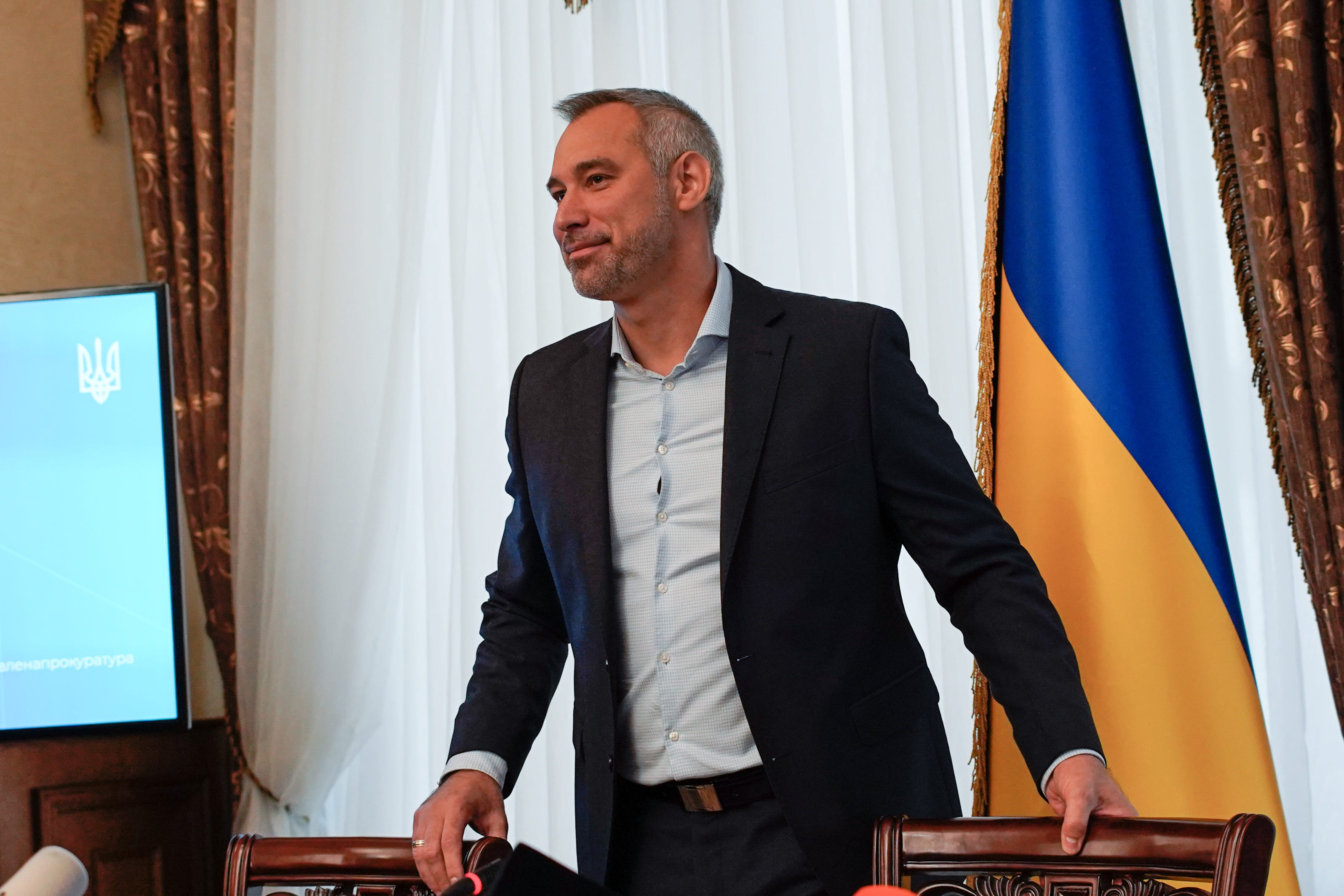 Ukraine's new general prosecutor, Ruslan Ryaboshapka, during a press conference in Kyiv on Oct. 4, 2019.