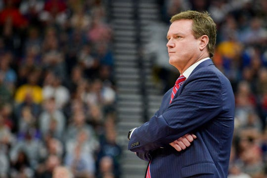 Kansas coach Bill Self watches his team play against Auburn in the second round of the 2019 NCAA tournament.