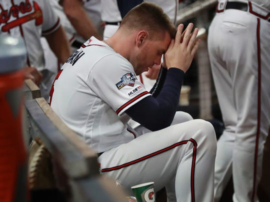 Freddie Freeman looks on during the Game 5 loss.