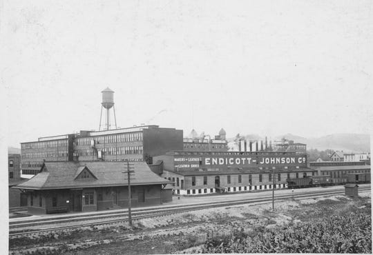 A view of the Endicott Johnson factories in the Corliss Avenue area .