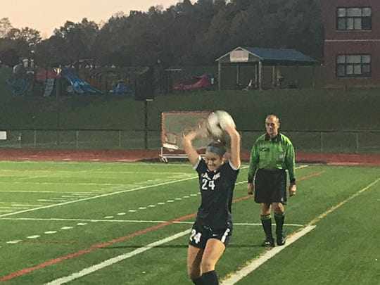 Chenango Forks' Taylor Maus executes a throw-in during Thursday's STAC East Division tiebreaker against visiting Oneonta.