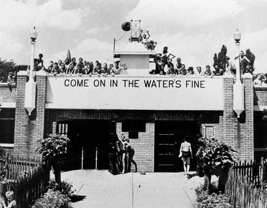 The entrance to the huge pool at CFJ Park in Johnson City in the 1930s.