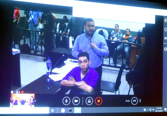 Orlando Tercero sits as his defense attorney speaks during Tercero's trial for the murder of Haley Anderson. Tercero is being held and tried in Nicaragua, with witnesses being questioned via video livestream from Binghamton. Friday, October 11, 2019.