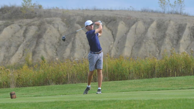 Galion's Spencer Keller tees off on the 7th hole at NorthStar Golf Club in the D-II state tournament.