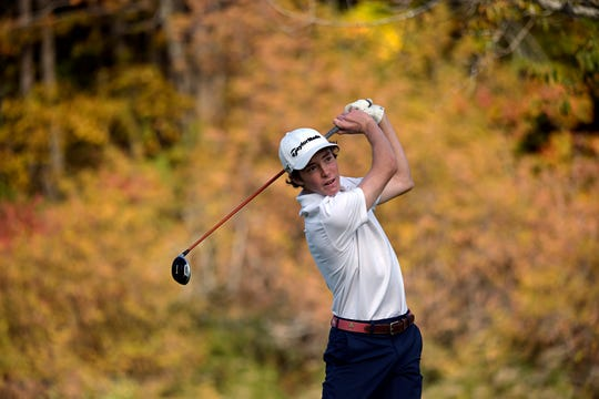 Stratton's Harrison DiGangi hits off the fifth tee during the 2019 Vermont Division II boys golf championship at The Quechee Club on Thursday, Oct. 10. DiGangi (6-over 78) was the D-II medalist.