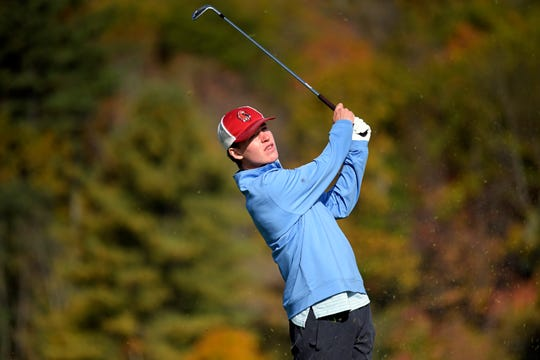 CVU's Alex Leonard tees off during the 2019 Vermont Division I boys golf championship at The Quechee Club on Thursday, Oct. 10. Leonard (4-over 76) helped the Redhawks to a first place team finish.