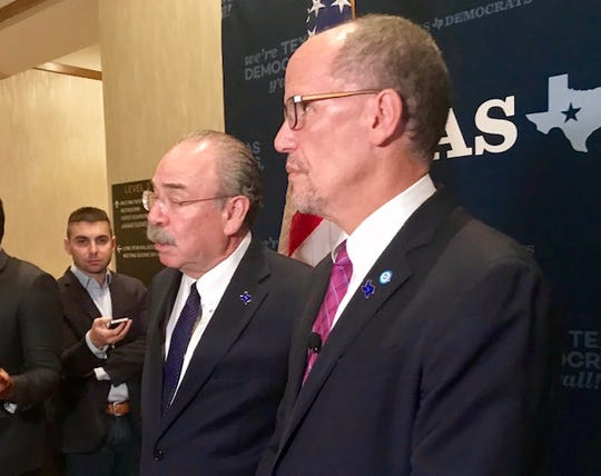 Democratic National Committee Chairman Tom Perez, with Texas party chief Gilberto Hinojosa, in Austin, Oct. 5, 2019.