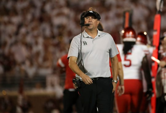 Sept. 1, 2019: Houston Cougars head coach Dana Holgorsen during the game against the Oklahoma Sooners at Gaylord Family - Oklahoma Memorial Stadium.