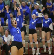 Wyoming setter Ines Grom (3) reacts  during the Cowboys' Cincinnati Hills League volleyball game against Indian Hill, Thursday, Oct. 10, 2019.