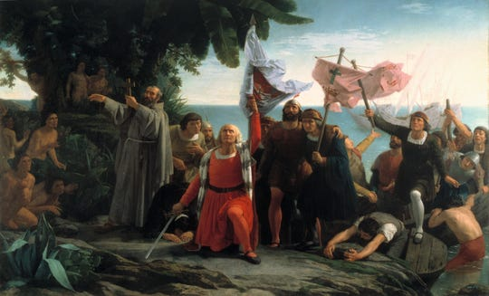 First Landing of Columbus on the Shores of the New World; painting by Dióscoro Puebla (1862).