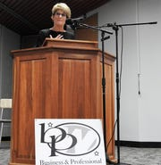 City Auditor Sherry Kirkpatrick spoke Thursday at a Meet the Candidates Night at the Coshocton County Career Center. Even though she is running unopposed, she said it was important to still get out and connect with residents.