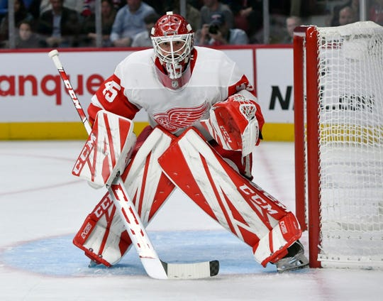 Detroit Red Wings goalie Jonathan Bernier tracks play during the third period against the Montreal Canadiens at the Bell Centre in Quebec, Oct. 10, 2019.