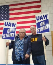 Jim Devlin (left) and Darwin Cooper (right) retired from Lordstown and now volunteer to help in the strike.