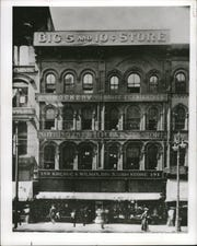 Copy of an early photograph of the S.S. Kresge Company's first store in Detroit on Woodward Avenue which opened in 1899.