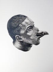 "This is graphite drawing by Rashaun Rucker is titled, ""I Fancy a Flight."" The piece will by a part Rucker's solo exhibition at M Contemporary Art, entitled ""American Ornithology,"" which opens Friday, October 25, 2019."