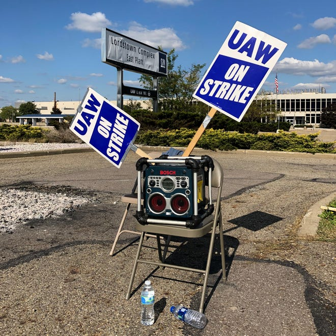 Picketing at GM's Lordstown Assembly plant in Lordstown, Ohio has been a lonely task. The plant has a depleted workforce since idling in March and struggles to find strikers.