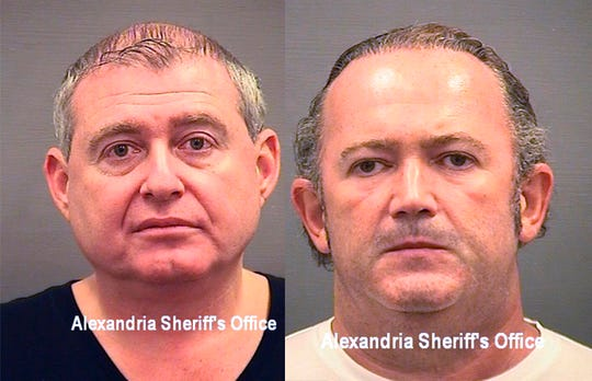 These photos provided by the Alexandria Sheriff's Office shows booking photos of Lev Parnas, left, and Igor Fruman. The associates of Rudy Giuliani, were arrested on a four-count indictment that includes charges of conspiracy, making false statements to the Federal Election Commission and falsification of records.
