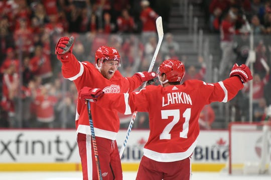 Anthony Mantha, left, and Dylan Larkin have been two brights spots on offense.