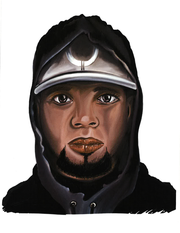 A security camera captured one of the suspects, wearing a white-brimmedbaseball cap, dark hooded jacket with light stripes and black-and-red gym shoes. Police have since released a sketch of the suspect.