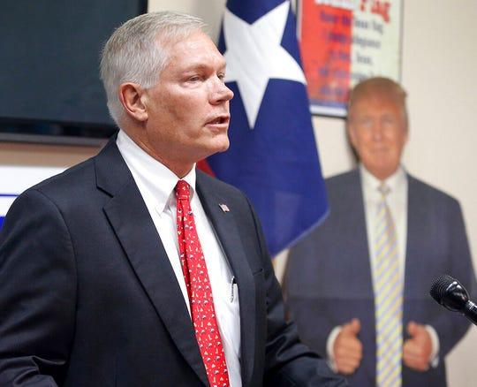 Former US Rep. Pete Sessions speak to the McLennan County Republican Party Thursday, Oct. 3, 2019, in Waco, Texas as he runs to fill the seat of Bill Flores who is stepping down.