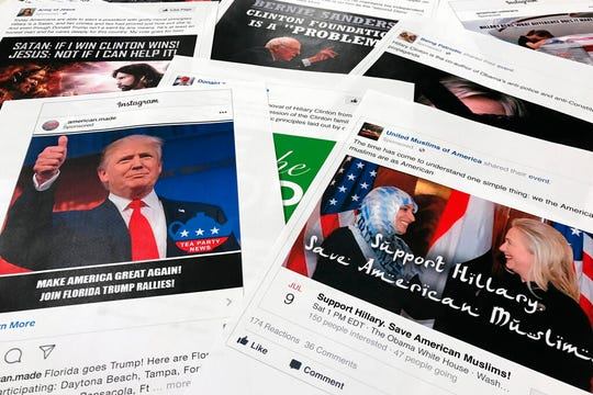 In this Nov. 1, 2017, file photo, Some of the Facebook and Instagram ads linked to a Russian effort to disrupt the American political process and stir up tensions around divisive social issues, released by members of the U.S. House Intelligence committee, are photographed in Washington.