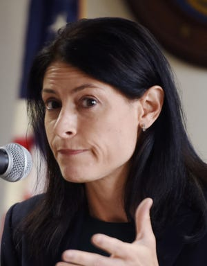 Michigan Attorney General Dana Nessel answers questions from the media in this Sept. 23, 2019, file photo.