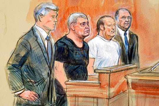 This courtroom sketch depicts from left, attorney Kevin Downing, Lev Parnas, Igor Fruman, and attorney Thomas Zehnle standing before U.S. Judge Michael Nachmanoff, at federal courthouse in Alexandria, Va., Thursday, Oct. 10, 2019.