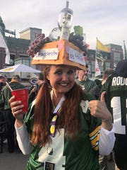 Lori Stefanski, of Racine, loves her Packers and her wine.