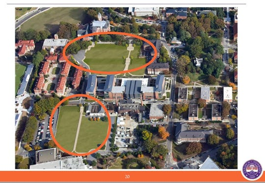 The preliminary designs for green space where Johnstone Hall and the Union stand today.