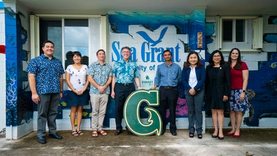 Austin Shelton, director, University of Guam Sea Grant; Dalia Hernandez-Ortiz, graduate student and research assistant; Peter Houk, associate professor, UOG Marine Laboratory; Thomas W. Krise, president, UOG; Ujwalkumar Patil, assistant professor, UOG School of Engineering; Meagan Catahay, undergraduate student and research assistant; Anita Borja Enriquez, senior vice president of academic and student affairs, UOG; and Rachael Leon Guerrero, director, Office of Research & Sponsored Programs, UOG.