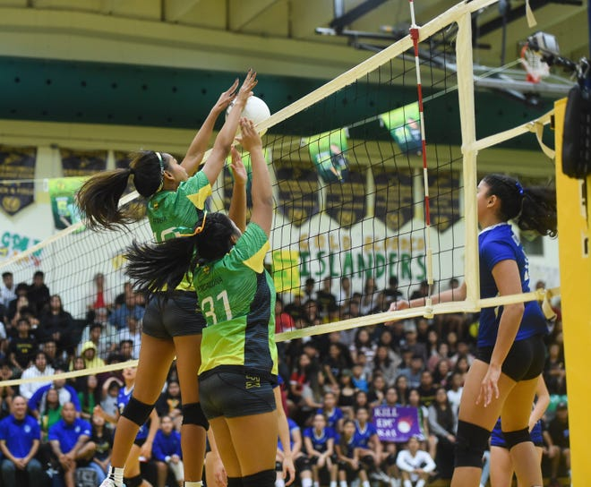 The John F. Kennedy Islanders broke the Notre Dame Royals' winning streak during the last IIAAG High School Girls Volleyball regular season game at their homecourt in Tamuning in this Oct. 2019 file photo. Girls volleyball is on tap for January, should high school sports get approval to play.