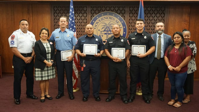 The firefighters who rescued the teen who fell from the Jonestown cliff on Oct. 8 were recognized by Gov. Lou Leon Guerrero for their efforts.