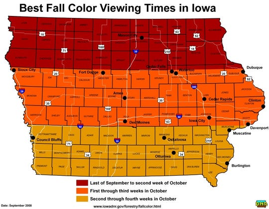 The Iowa Department of Natural Resources created a map for the public to know the peak times for seeing fall foliage across the state.