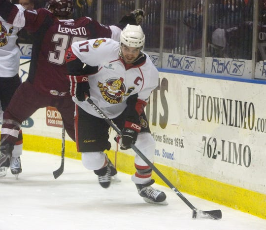 Denis Hamel, shown in April of 2008, holds Binghamton Senators team records with 203 goals, 189 assists, 392 points and 438 games played. He was inducted into the Binghamton Hockey Hall of Fame in 2014.