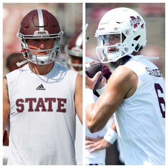 Mississippi State quarterbacks Tommy Stevens (left) and Garrett Shrader (right) each have an opportunity to play against Alabama this week.
