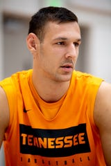 Tennessee forward Uros Plavsic (34) gives an interview during Tennessee mens basketball media day inside Pratt Pavilion in Knoxville, Tenn. on Friday, October 11, 2019.