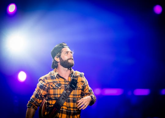 Country music singer Thomas Rhett performs at Thompson-Boling Arena in Knoxville on Thursday, October 10, 2019.